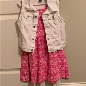 Other - No sleeve white denim jacket and Pink Dress